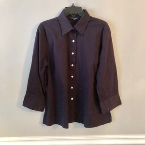 Land's End Navy Cotton Button Up Shirt 3/4 Sleeve